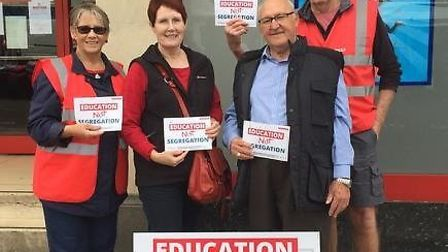 NE Cambs Labour Party hold an education not segregation rally in Wisbech