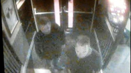 CCTV shows two men who police would like to speak to in connection with an assault at the Hereward P