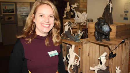 Art Unequalled, Ely: Sally Dunham, organiser, with some of her work