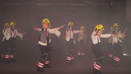 Firefighters reenacting the 'Thriller' dance routine.