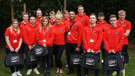 Sharon Wilson of QNT, centre, with CRC Personal Trainer students.