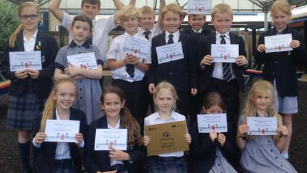 King's Ely Junior students with their eTwinning prizes.