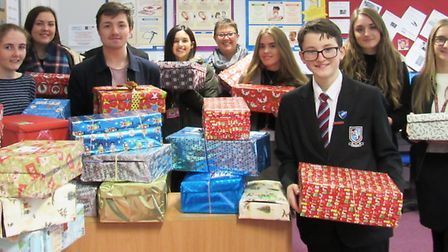 Students who donated, with Lou Allen, the college's charity coordinator