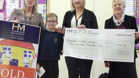 Kingsfield headteacher Anne Robertson and pupil Dominic Beston with Sharon Aylward and Myra Alvin fr