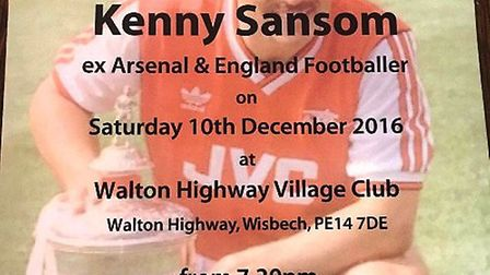 Kenny Sansom is coming to Walpole HIghway Club