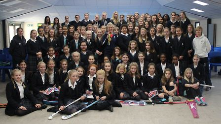 King's Ely pupils with Olympic gold medallist, Alex Danson.