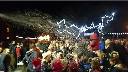 Crowd at last year's Wimblington switch on in the snow.