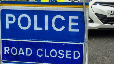 Concrete blocks belonging to 40 tonne lorry leads to A605 closure near Pondersbridge, Whittlesey