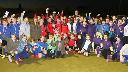 Referee Craig Pawson with the youngsters at the Peterborough Young Referee's Day. Photo: RWT Photogr
