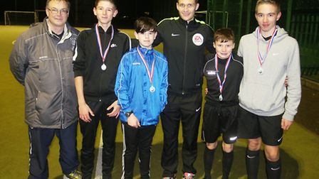 Organiser Robert Windle, Craig Pawson with trainee referees. Photo: RWT Photography
