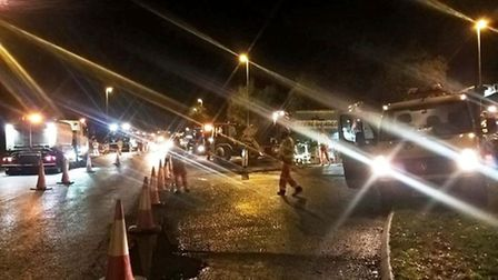 Night works to resurface and improve the Wimblington Bypass.