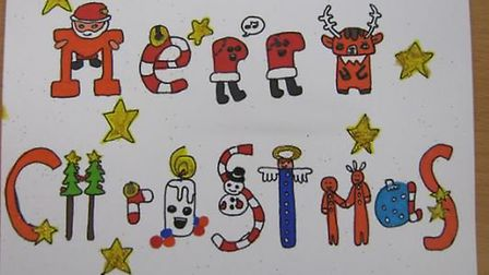 Christmas cards designed by pupils from Weatheralls Primary School, Soham.