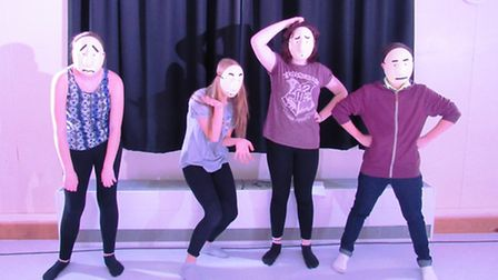 Chatteris Community College students rehearsing for their performance of 'Revolting Rhymes.'