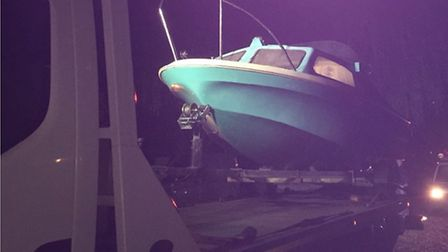 One of five boats seized by police in Wisbech