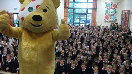 Pudsey visited Littleport Community Primary School as part of the Rickshaw Challenge
