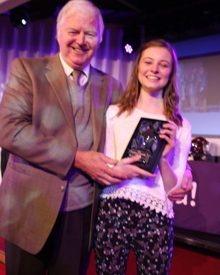 Amy Jelleyman with the Sheila Steafel comedy award presented by Ian Lavender.