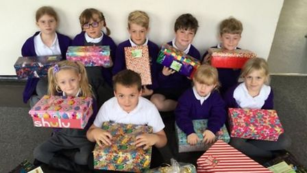 Schoolchildren at Ten Mile Bank collected shoe boxes for an appeal last month. The school is now fac