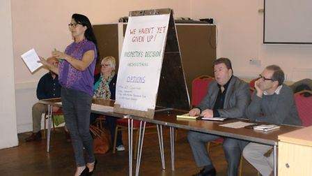 Angela Johnson talks at the latest Wimblington Against the Anaerobic Digester meeting