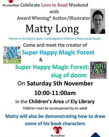Children's author Matty Long is at Ely Library this weekend