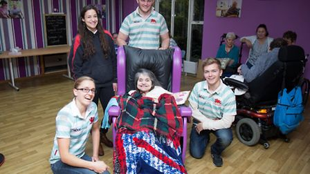 L-R back row: Sophie Farrant and Jonny Dixon. Front row: Alice Middleton, resident Janet Layton and