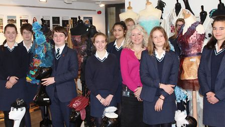 Fashion and textiles students at King's Ely with designer, Juliana Sissons.