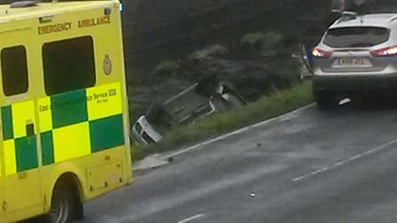 The scene of the accident on Padnal Bank, Queen Adelaide, this morning (November 9).