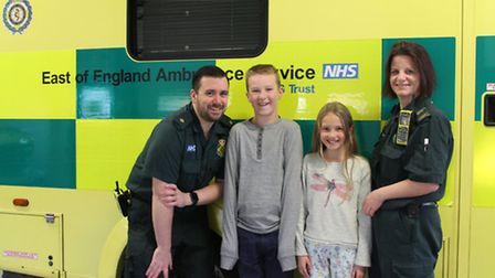 Ely: Ambulance men praised after treating young girl: Nathan Latimer and Kelly Thompson with Jake an