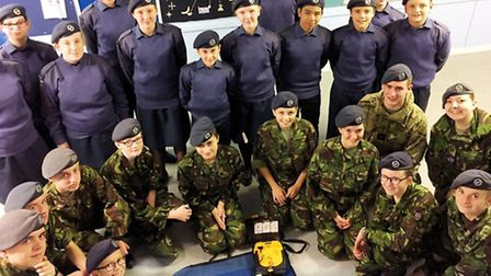 Cadets from 1220 (March) Sqn have received defibrillator training.