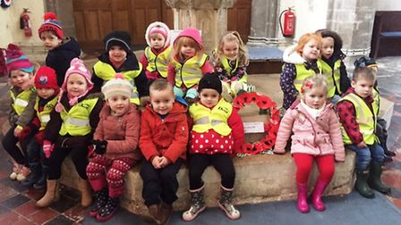 Children from Krazy Dayz nursery lay wreaths to mark Remembrance Day at Walsoken Church