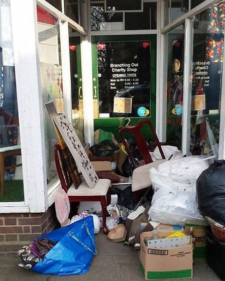 Previous fly-tipping at Branching Out Charity Shop, Littleport.
