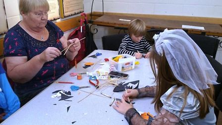 Halloween crafts at Ely Museum.