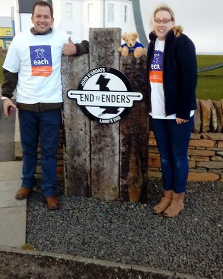 Alyson and Neil Clark travelled from Land's End to John O' Groats in a tractor to raise money for Ea