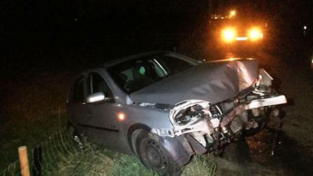 Police were called after a car crashed into a lamp post in Manea last night.