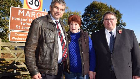 March Town Councillors Rob Skoulding, Jan French and Mark Purser who have paid for a 30mph speed red