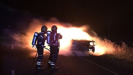 Car fire on the A141, just past the Cattery at Warboys