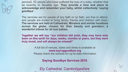 The Mariposa Trust is running a baby loss service at Ely Cathedral