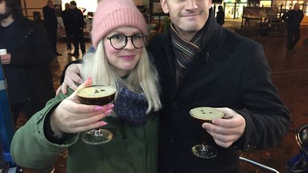 Nick and Alex with espresso martinis from Silveroak.
