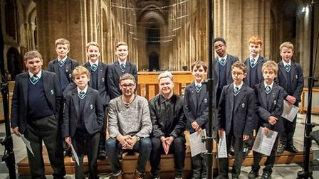 Gus with Ely Cathedral choristers.