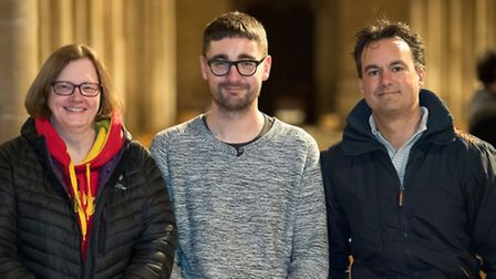 Alt-J's Gus with Ely Cathedral's matron and the former choir house master.