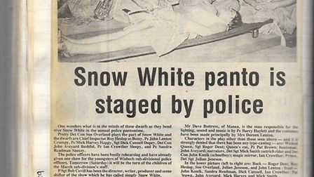 Newspaper clipping from Cambridgeshire Police performance of Snow White in 1979.