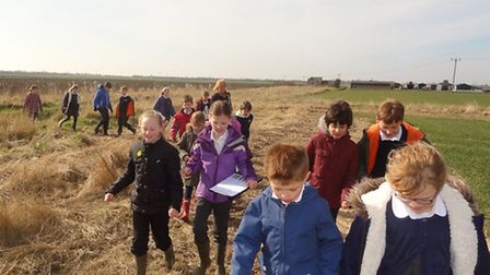 Ouse Washes Nature Friendly Zone. Pictured: Lionel Walden school, Year 4.