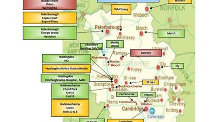 Map illustrating what police and crime commissioner Jason Ablewhite describes as 'estate requirement