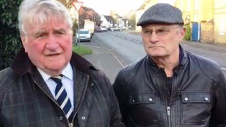 County Councillor Bill Hunt and East Cambs District coucnillor Stuart Smith - Haddenham gets a pedes