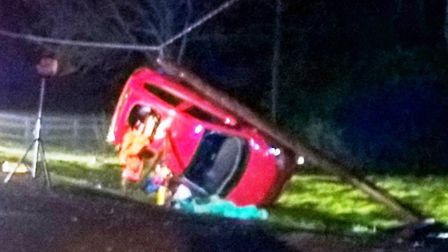 Three children and an adult taken to hospital after car collides with electricity pole on Ramsey Roa
