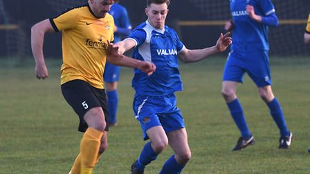Action from March Town's 1-0 victory over Team Bury.