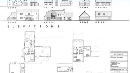 Plans agreed for two homes south of 36 Newmarket Road, Fordham
