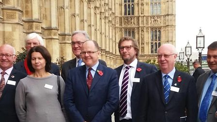 East Cambs Council leader James Palmer (third right) with George Freeman MP on the terrace at Westmi