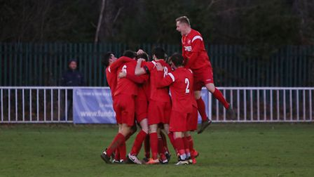 Ely City celebrate one of their goals in their 3-2 success over Welwyn Garden City. Picture: Melissa