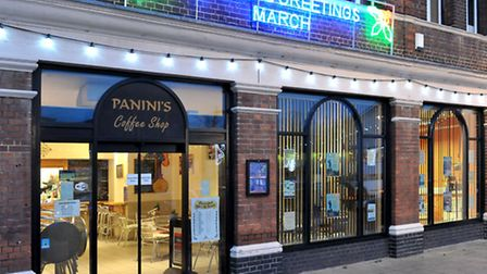 Paninis Coffe Shop, March.