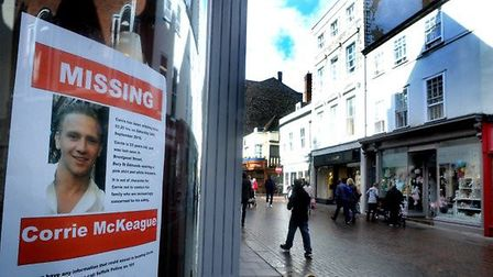 Posters appealing for information into the disappearance of missing RAF Honington serviceman Corrie